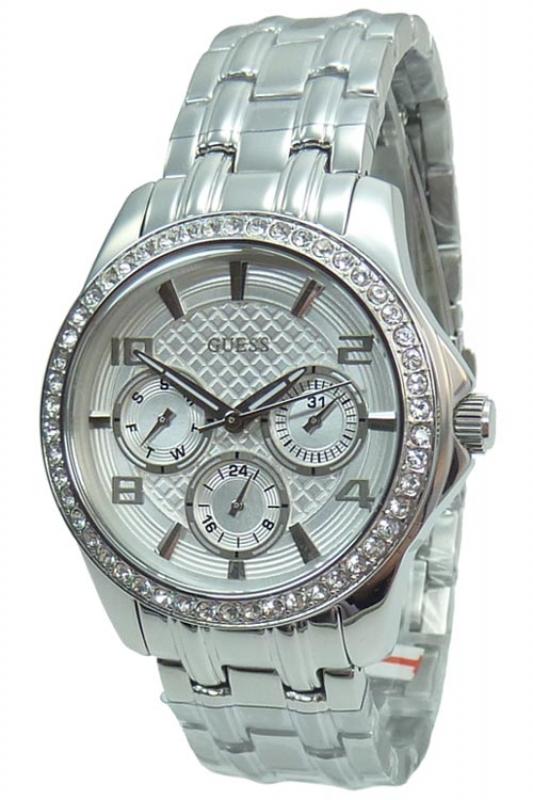Damenuhren silber guess  Guess Uhr Damenuhr Multifunktion W0403L1 MINI EXEC silber Strass, 156