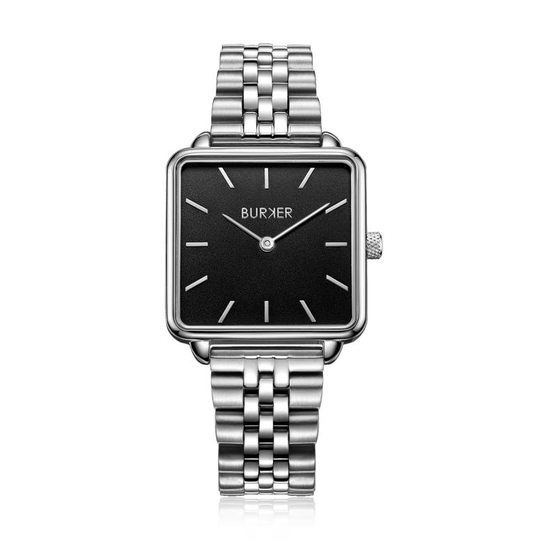 Uhren Burker Edelstahl Schwarz Black Limited Chloe Edition Uhr Damenuhr Silberfarben Silver c3RL4Ajq5