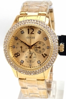 Guess Uhr Damenuhr Multifunktion W1097L2 Bedazzle gold